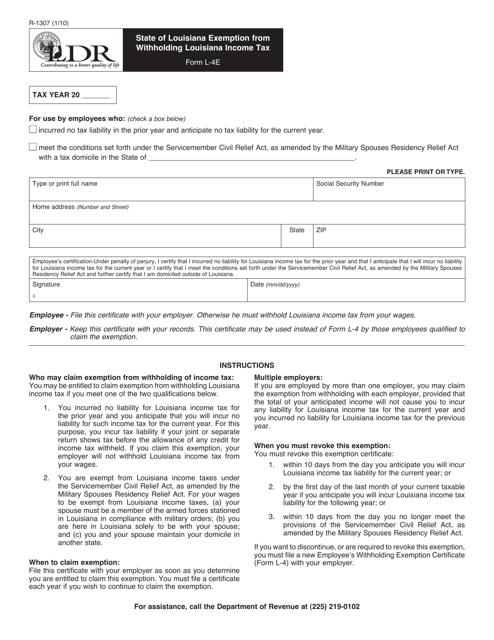Form R-1307  Printable Pdf