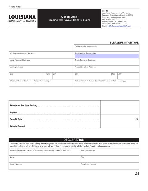 Form R-1040  Printable Pdf
