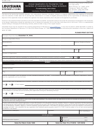 Form R-1048 Annual Application for Exemption From Collection of Louisiana Sales Taxes at Certain Fundraising Activities - Louisiana