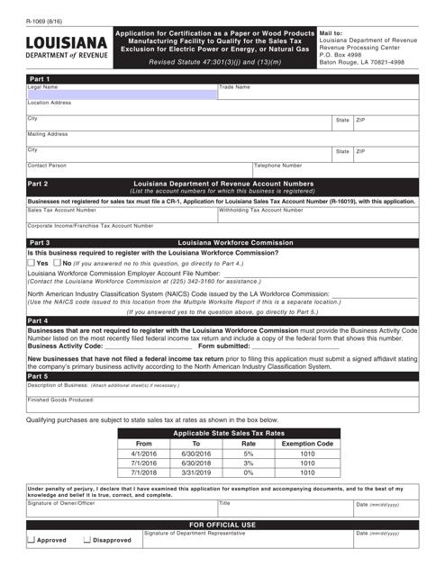 Form R-1069  Printable Pdf