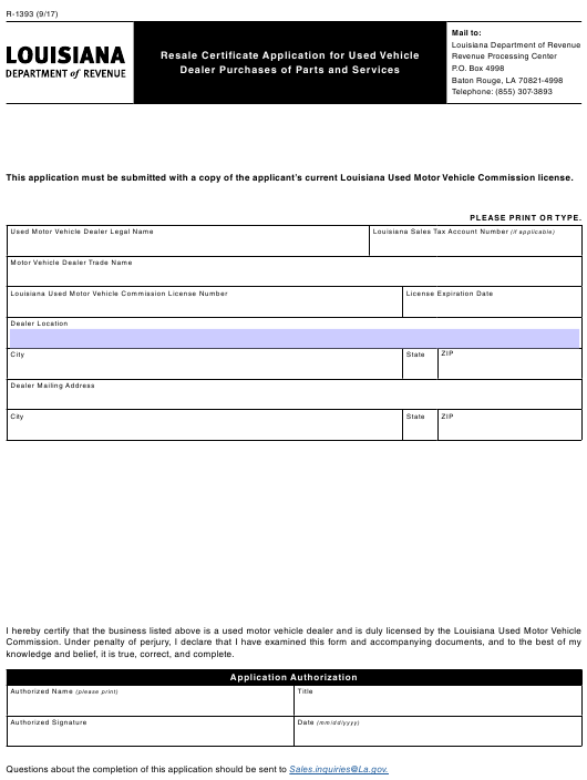 form certificate resale 1393 louisiana vehicle pdf application purchases dealer revenue fill printable department fillable templateroller phone template