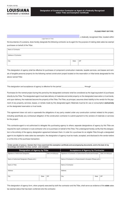 Form R-1024 Printable Pdf
