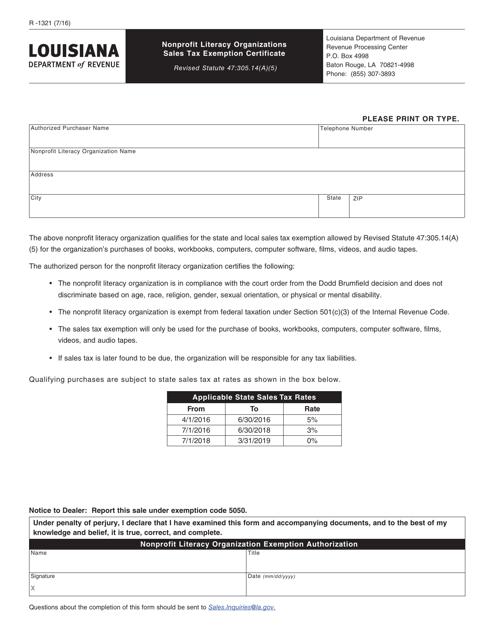 Form R-1321 Printable Pdf