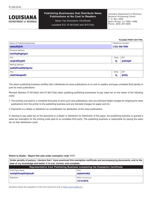 Form R-1320  Printable Pdf