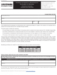 Form R-1355 Purchases for Resale by a Blind Person in the Conduct of a Business - Louisiana