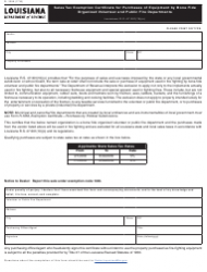 Form R-1359 Organized Volunteer and Public Fire Departments - Louisiana