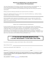 Request for Modification in the Administration of the Uniform Cpa Examination - Idaho