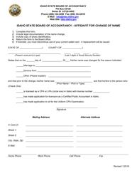 Affidavit for Change of Name - Idaho