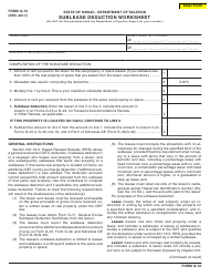 Form G-72 Sublease Deduction Worksheet - Hawaii