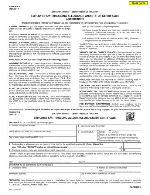 Form HW-4  Printable Pdf