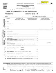 Form TA-1 Transient Accommodations Tax Return - Hawaii