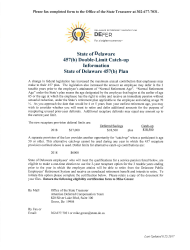 457(B) Double-Limit Catch-Up Certification of Eligibility Form - Delaware