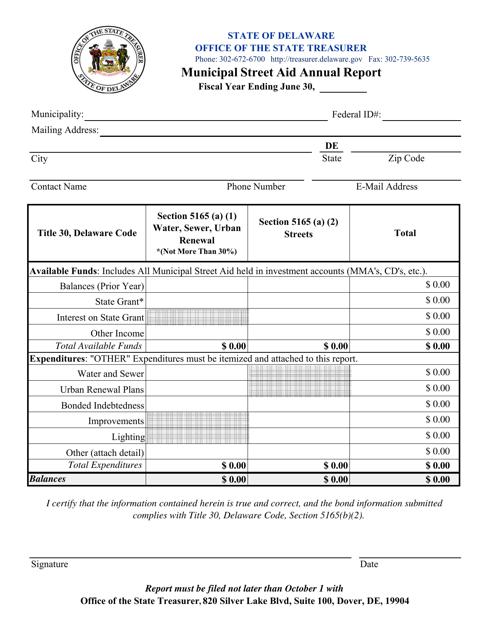 """Municipal Street Aid Annual Report Form"" - Delaware Download Pdf"