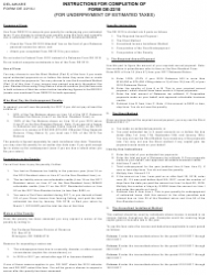 Instructions for Form De-2210 - Delaware Underpayment of Estimated Taxes