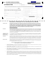 "Form 200-ES-5E ""Request for Extension - Delaware Estimated Income Tax Return for Individuals"" - Delaware, 2018"
