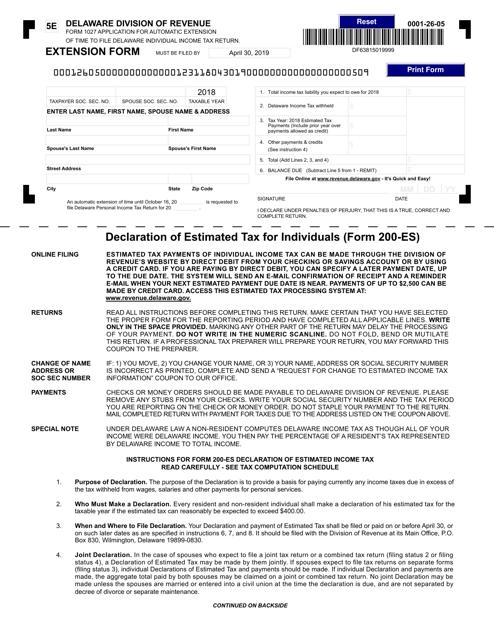 Form 200-ES-5E 2018 Printable Pdf