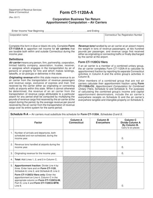 Form CT-1120A-A  Printable Pdf