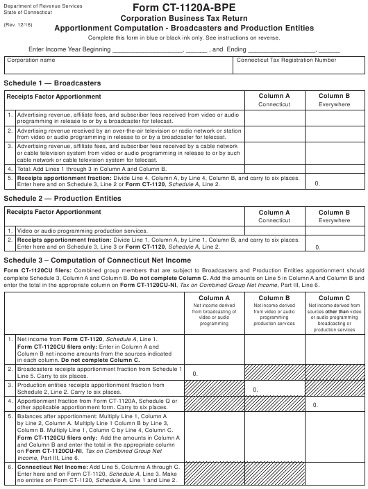Form Ct 1120a Bpe Download Printable Pdf Corporation Business Tax
