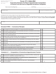 Form CT-1120A-IRIC Corporation Business Tax Return Apportionment Computation Of Income From Services To Regulated Investment Companies - Connecticut