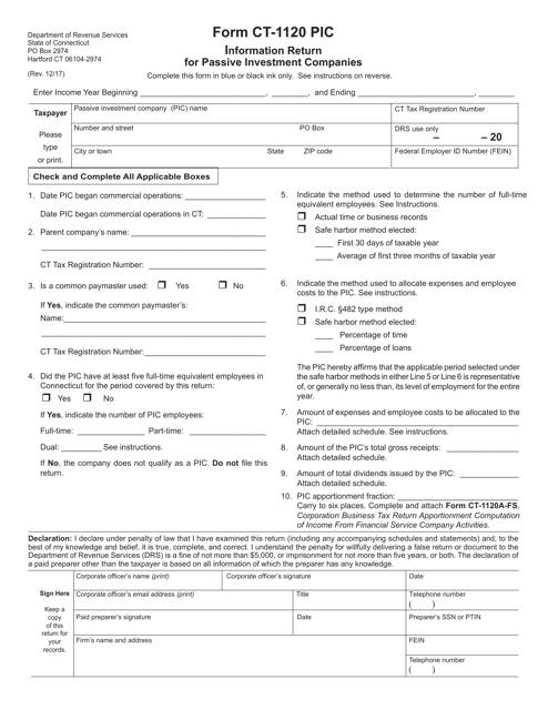 Form CT-1120 PIC  Printable Pdf