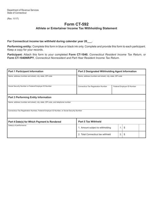 Form CT-592  Printable Pdf