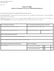Form CT-592 Athlete or Entertainer Income Tax Withholding Statement - Connecticut
