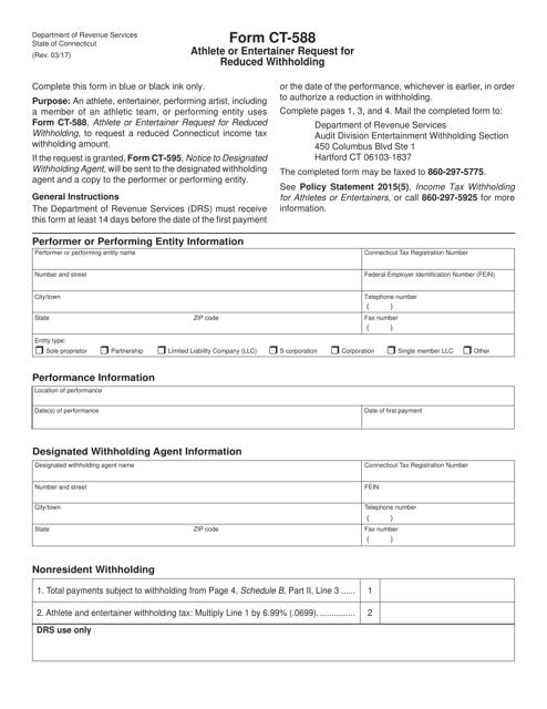 Form CT-588  Printable Pdf