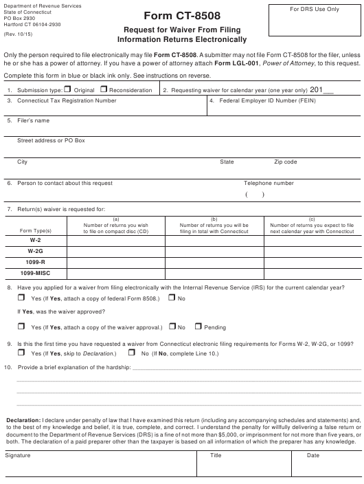 Form CT-8508 Printable Pdf