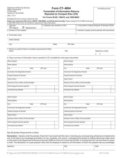 Form CT-4804  Printable Pdf