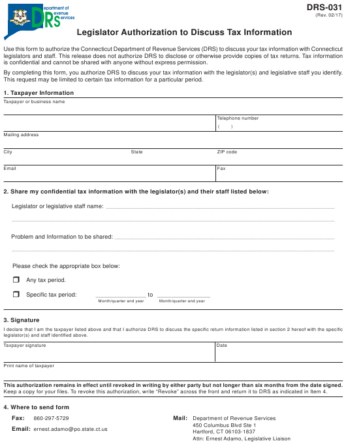 Form DRS-031  Printable Pdf