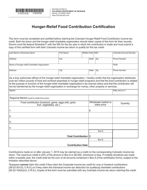 Form DR0346  Printable Pdf