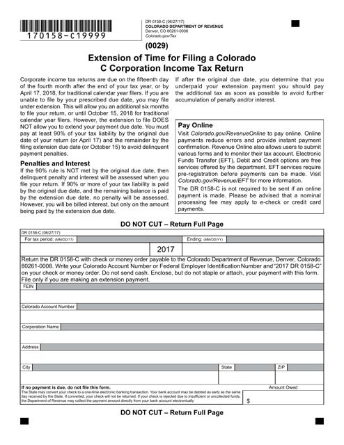 Form DR 0158-C Fillable Pdf