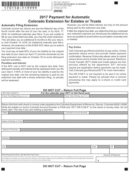 Form DR0158-F 2017 Printable Pdf