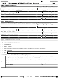 "Form 588 ""Nonresident Withholding Waiver Request"" - California, 2018"