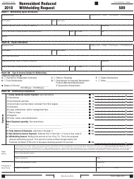 "Form 589 ""Nonresident Reduced Withholding Request"" - California, 2018"