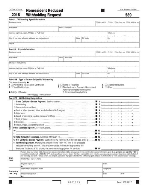 Form 589 2018 Printable Pdf