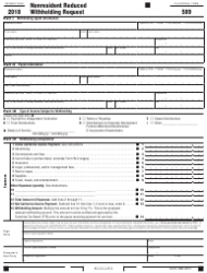 Form 589 2018 Nonresident Reduced Withholding Request - California