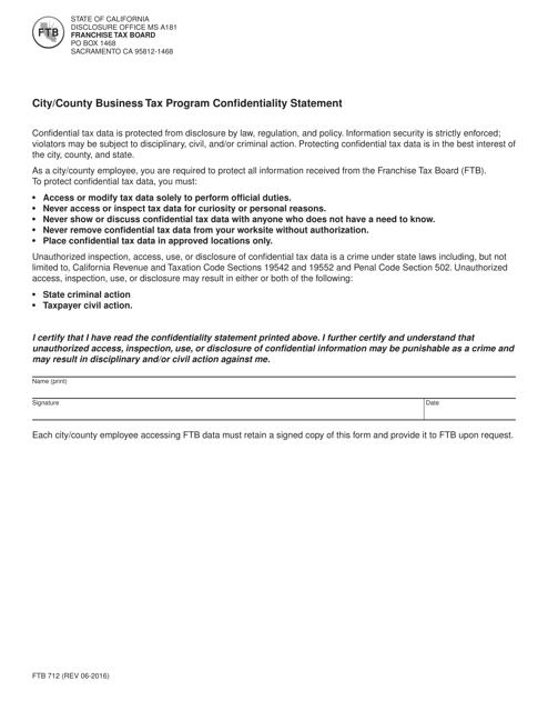 Form FTB712  Printable Pdf