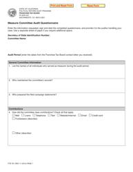 Form FTB 781 Measure Committee Audit Questionnaire - California