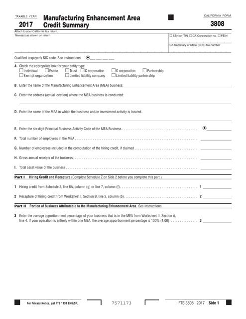 Form FTB 3808 Download Printable PDF 2017, Manufacturing