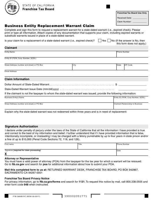 Form FTB 3900B PC Download Fillable PDF, Business Entity