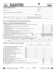 Form FTB 5870A 2017 Tax on Accumulation Distribution of Trusts - California