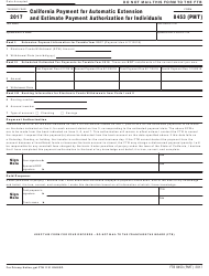 Form FTB 8453 (PMT) 2017 California Payment for Automatic Extension and Estimate Payment Authorization for Individuals - California