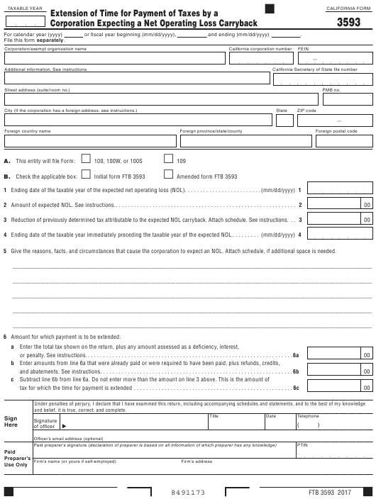 Form FTB3593 Printable Pdf