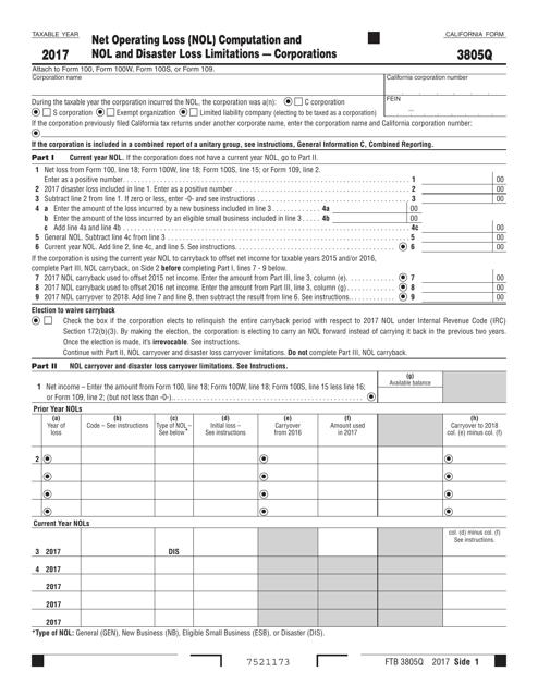 Form FTB3805Q 2017 Printable Pdf
