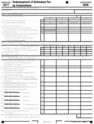 Form FTB 5806 2017 Underpayment of Estimated Tax by Corporations - California