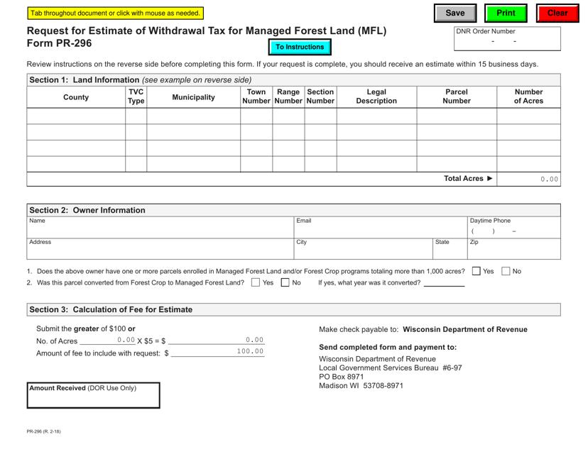 Form PR-296 Fillable Pdf