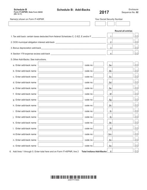 Form IT-40PNR (State Form 54030) Schedule B 2017 Printable Pdf