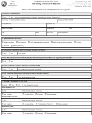 State Form 56462 Form Vda-1 - Voluntary Disclosure Request - Indiana