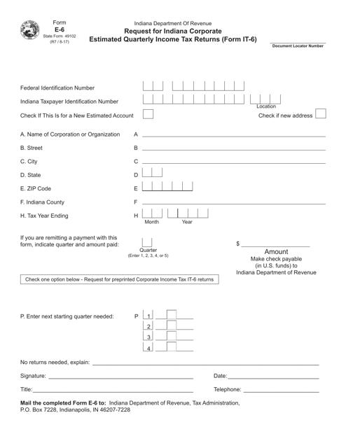 State Form 49102 Printable Pdf